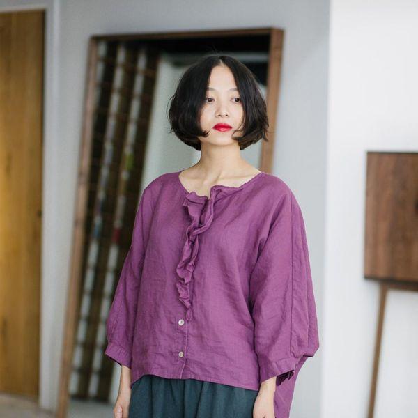 Las mujeres chinas tops de ramio de las señoras flojas ocasionales del verano del ramio del ramio de la camisa femenina del vintage camisa retra de la vendimia