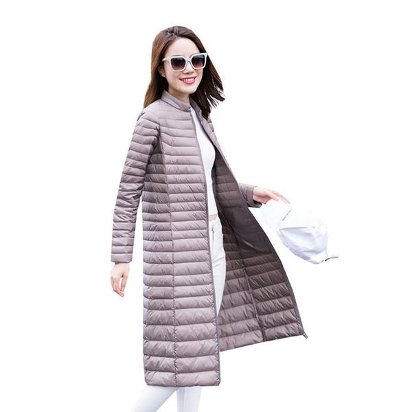 2018 Autumn Winter Women White Duck Down Coat Parkas Ultra Light Down Jacket Ladies Warm Slim Long Outerwear Plus Size 4XL A1129 Y190918