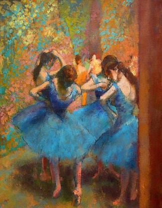 Edgar Degas dipinto a mano HD stampa impressionismo ritratto arte pittura a olio ballerini blu su Canva di alta qualità p211