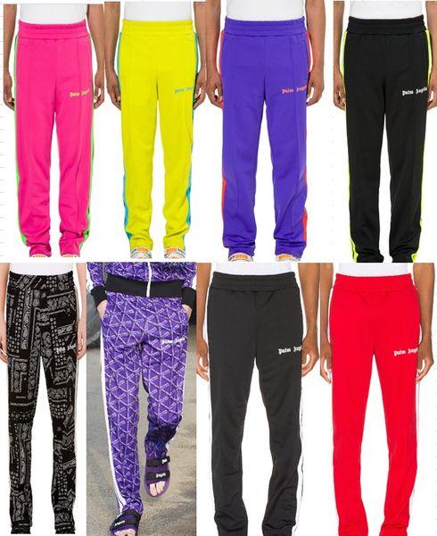 Palm Angels Track Pants Hombres Mujeres Fashion Stripe Side Casual Pants Black Purple Tobillo Cremallera Jogger Pantalones Hip Hop Pantalones S-XL