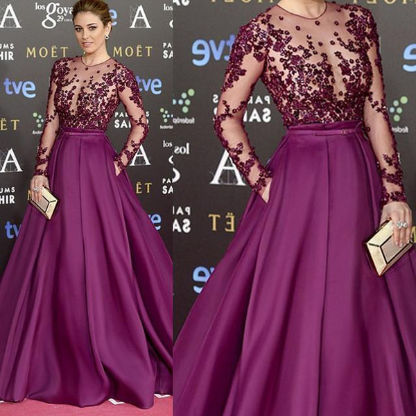 Abendkleider Purple Prom Dresses Long Sleeve Evening Gowns Sheer Bodice Sparkly Bead Cocktail Party Ball Dress Celebrity Formal Gown