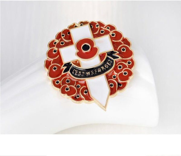 Gold Plated Luxury Red Colored Enamelled UK Fashion Poppy Brooch The British Remembrance Days Souvenir High Quality Cross Pins