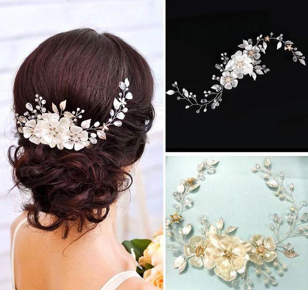 European Elegant Pearl Leaf Bridal Headpieces Flower Wedding Headbands Women Hair Band Headwear Girls Wedding Veil Dress Hair Accessories