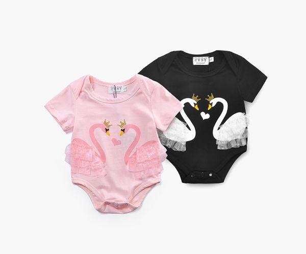 Babyspielanzugschwan druckte niedliches Babyeinteilige Kleidungskindoverallskindkleinkindrosa weiße Sommerkleidung