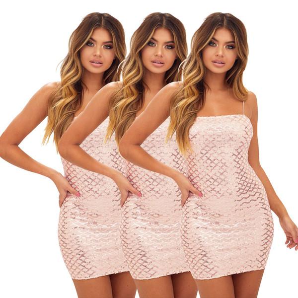 новый A6125 2019 европейских и американских женщин сексуальные блестки квадратный слинг ну вечеринку мода платье