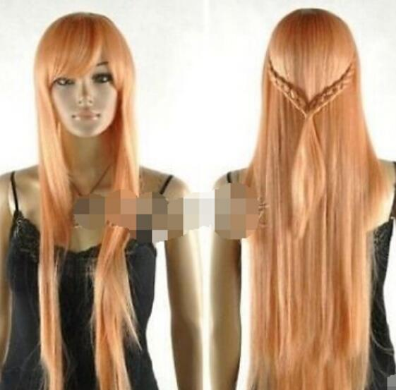 ENVÍO GRATIS + Nueva peluca Cosplay Light orange long straight hair + two pigtail peluca
