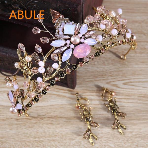 abule Luxushochzeits-Kronen und Tiara-rosafarbene Kristallkopfbedeckungen für Frauen-Haar-Schmucksache-Brautzusätze geben Verschiffen frei