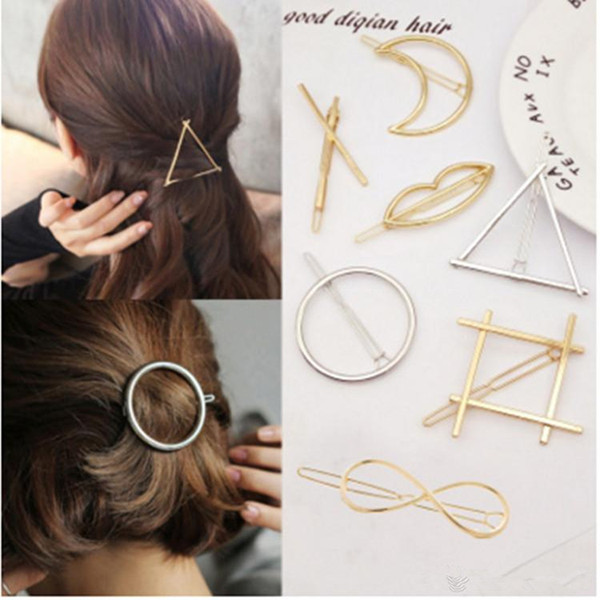 best selling Promotion Trendy Vintage Circle Lip Moon Triangle Hair Pin Clip Hairpin Pretty Womens Girls Metal Jewelry Accessories
