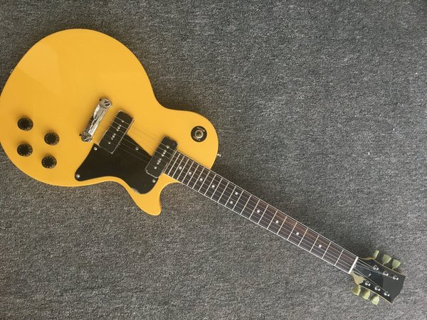 Electric guitar yellow color silver powder P90 sound pick-up mahogany wood electric guitar Free shipping Musical Instrument. free shipping