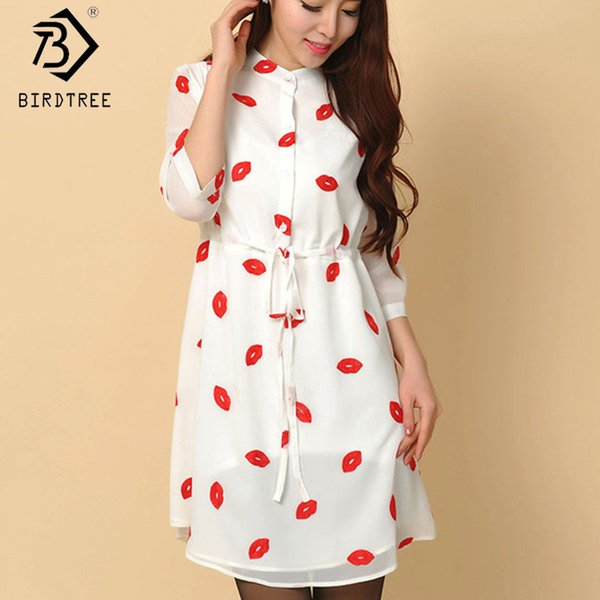 Casual Drawstring Autumn Cute Red Lips Print Stand Collar lined Dresses Women Chiffon Dress with Sashes Plus Size S-4XL Y19012102