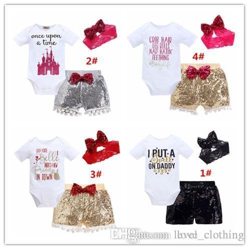 Baby girl INS letras macacão terno 4 Estilo Crianças manga curta triângulo macacão + calções paillette + bowknot faixa de Cabelo 3 pcs define roupas