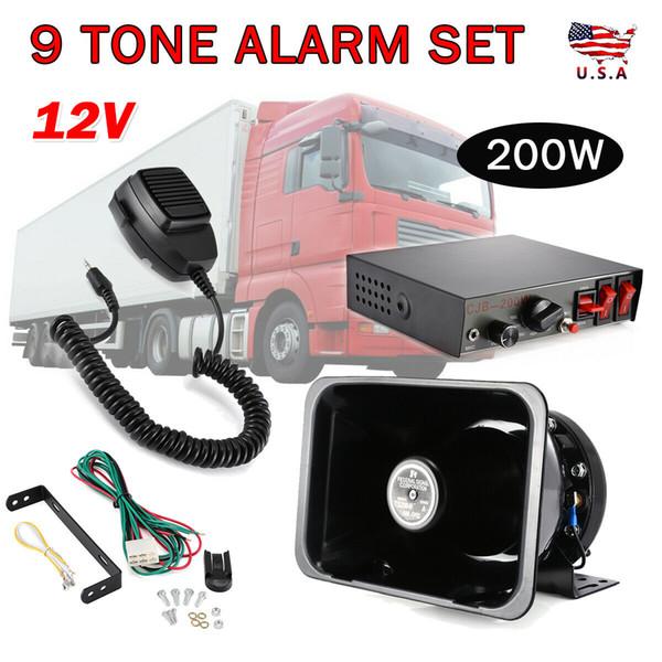 200W 9 Звук громкий автомобиль Предупреждение Сигнализация полиции Пожарная сирена Хорн акустическая система MIC