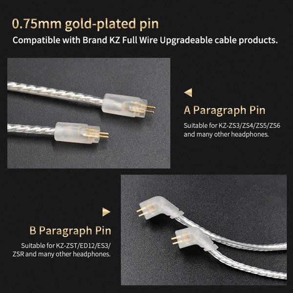 3,5 mm / 2.5mm Dengeli Gümüş ZS10 / ZST / ZS6 / ZSA / ES4 / ED16 / AS10 KZ BA10 İçin Gümüş Kaplama Kablo 2pin Yükseltme Plakalı