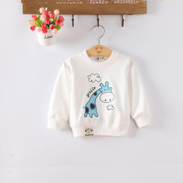 best selling Baby girls boy sweatshirts Infant jackets Children clothing long sleeve Yellow White giraffe pattern freeshipping
