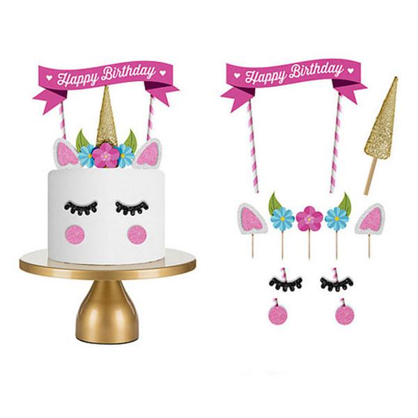 Unicorn Party Cake Topper flag Boda Cupcake Decor Happy Birthday Party Supplies props Bebé Niños Birthday Party favores artículos FFA1742