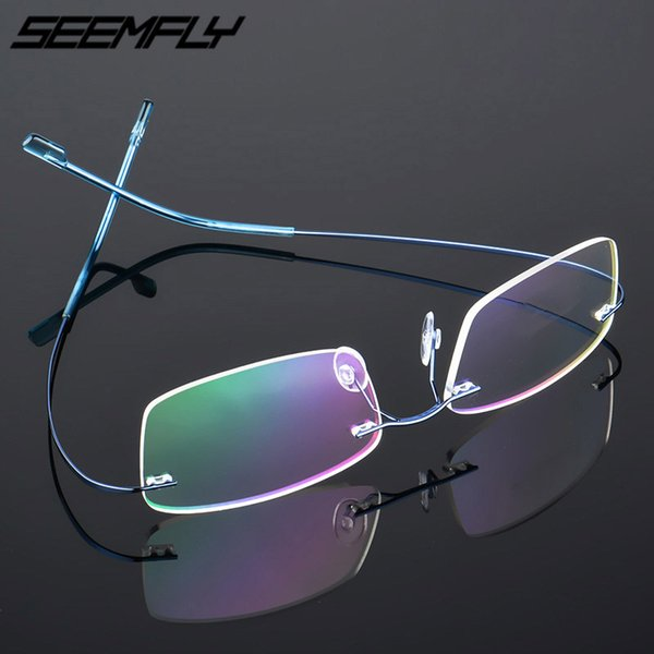 Seemfly титан Rimless Мужчины Женщина Очки Frames легкой близорукость рамка Spectacle Безрамных очки Оптические рамки 7 цветов