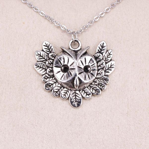 New Fashion Tibetan Silver Pendant big eye owl 35*30mm Choker Charm Short Long DIY Necklace Factory Price Handmade Jewelry