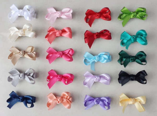 20pcs mini hair accessories satin ribbon bows clips covered lined Double Prong Duckbill Alligator Hairpin Boutique Baby Girl headwear FJ3238