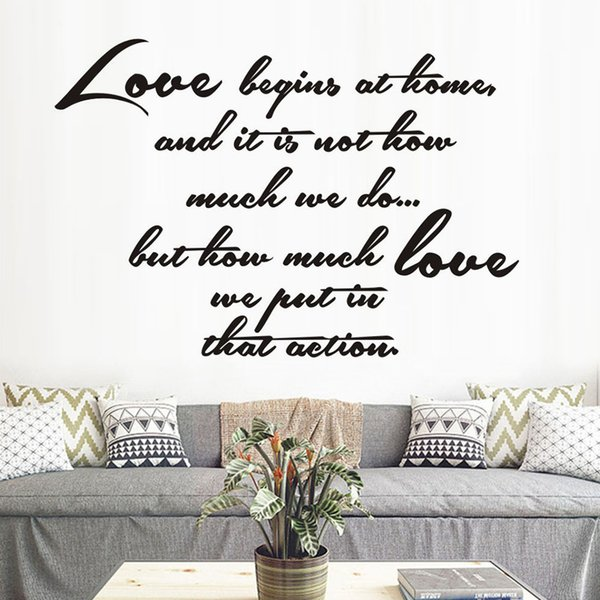 1 Pcs Love Begins At Home Vinyl Art Home Decor Wall Sticker Removable Waterproof White English Letters Living Room Parlor Mural Decals