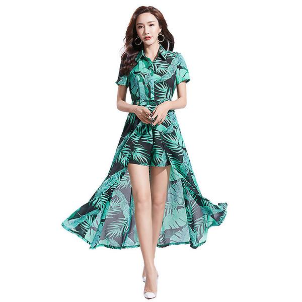 2019 Suit-dress Suit-dress Lapel Printing Fresh Grace Temperament Two Paper Suit Woman