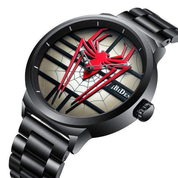 Moda Sytlish Homens Casual Assista Red Spider Aço Inoxidável Cool Masculino Relógio De Pulso Preto Único À Prova D 'Água Relógio De Quartzo