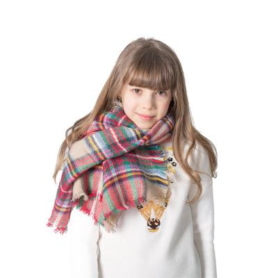top popular Autumn and winter children's colorful lattice square scarf imitation cashmere plaid scarf parent-child boys and girls scarf EEA510 2021