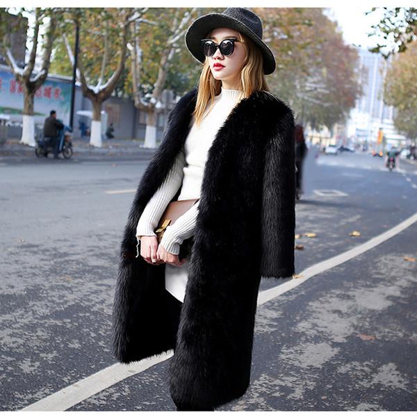Herbst Winter Frauen feste lange Kunstpelz Jacke Mantel schwarz olivgrau Damen warme Jacken Mäntel Oberbekleidung Mode Outfit