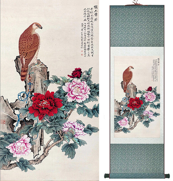 Birds And Peony Flower Painting Home Office Decoration Chinese Scroll Painting Peony Flower Paintingprinted Painting