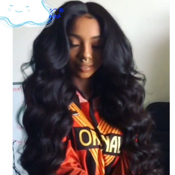 Best high quality new unprocessed remy virgin human hair long natural color body wave full lace wig for women