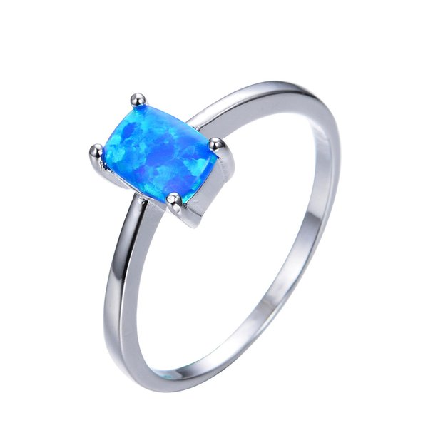 HAINON wedding rings jewelry for women square blue Opal romantic jewelry Best gift Friendship rings instock