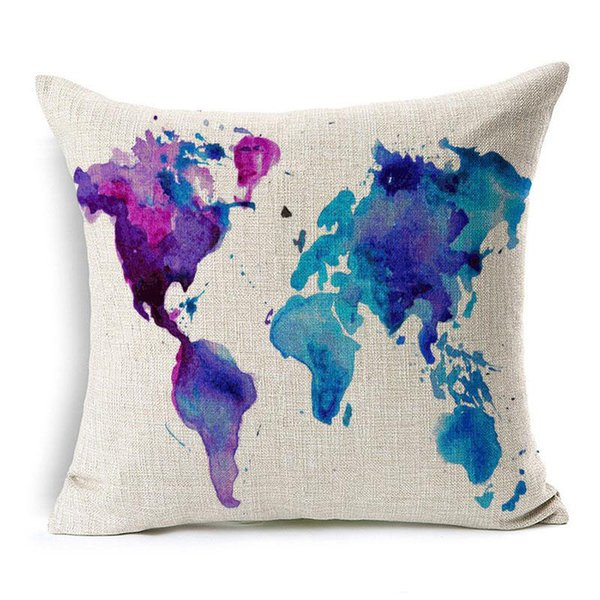 Sea Sailing Art Cushion Covers Ship Boat Anchor Rudder World Map Cushion Cover Sofa Throw Decorative Linen Cotton Pillow Case
