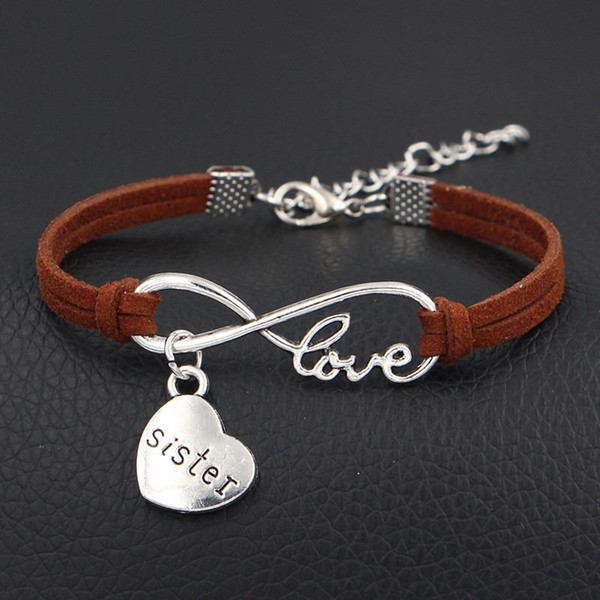 Mixed Color Velvet Rope Bracelet Jewelry Gift Friend Charms Love Sister Heart Pendants New Handmade Infinity Leather Bracelet