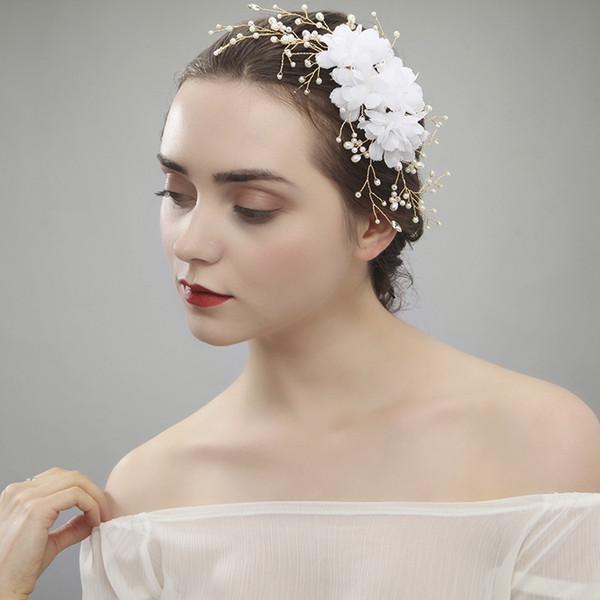 Fabricants vendant des perles de crêpe blanc coréen à la main barrette cheveux mariée coiffe mode cheveux cerceau mariée