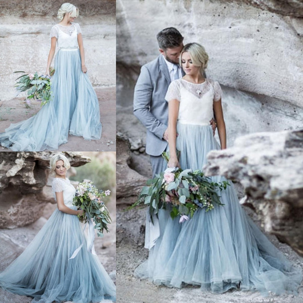 New Designer Beach Country A Line Wedding Dresses 2019 Spaghetti Straps Long Sweep Tulle A Line Bridal Gowns with Lace Jacket