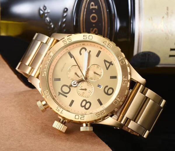 Große Größe relogio masculino passt Männer Chronograph-volle Edelstahl-Militäruhr Mann-Sportuhr Quarz-Armbanduhr-Golduhr auf