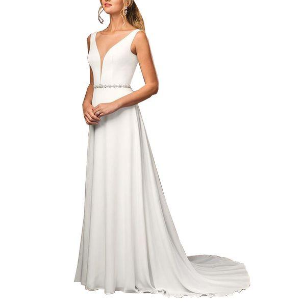 Setwell 2019 Deep V-neck A-line Wedding Dress Sleeveless Sexy V-back Waist Beaded Floor Length Short Train Bridal Gown