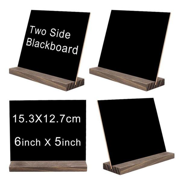 Neue Mini Double Side Chalkboard Signs Vintage Style Holz Base Stand Buffet Bar Nachricht Display Zeichen Neuheit Home Dekorative Rustikale Hochzeit