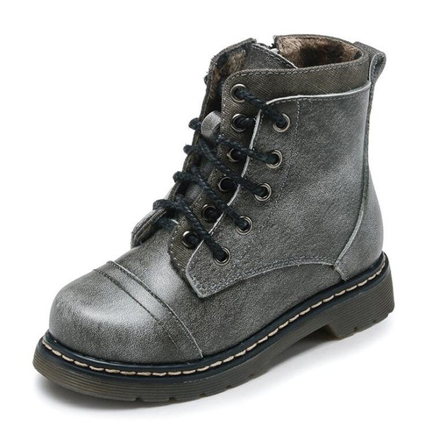 Children boots boys & girls genuine leather boots shoes kids leather shoes martin boots for 2-14 years old