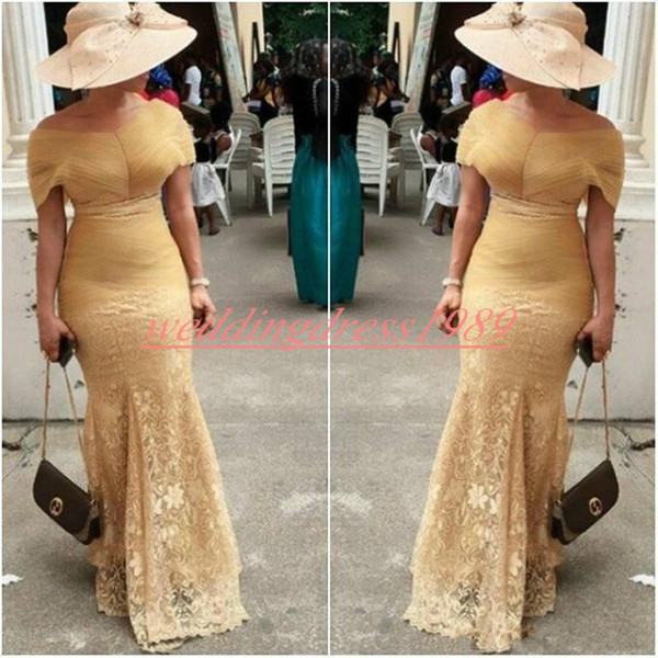 Elegant Lace Mermaid Evening Dress Party Pleats African Capped Off Shoulder 2020 Nigerian Robe De Soiree Plus Size Prom Formal Guest Dress