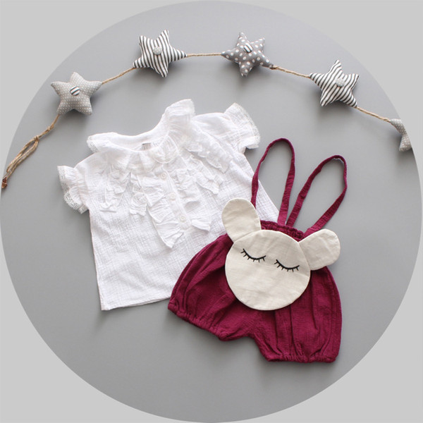 2PCS girls summer white shirt and wine red strap pant kids casual lace princess toddler clothes cartoon children set 1-4 Years