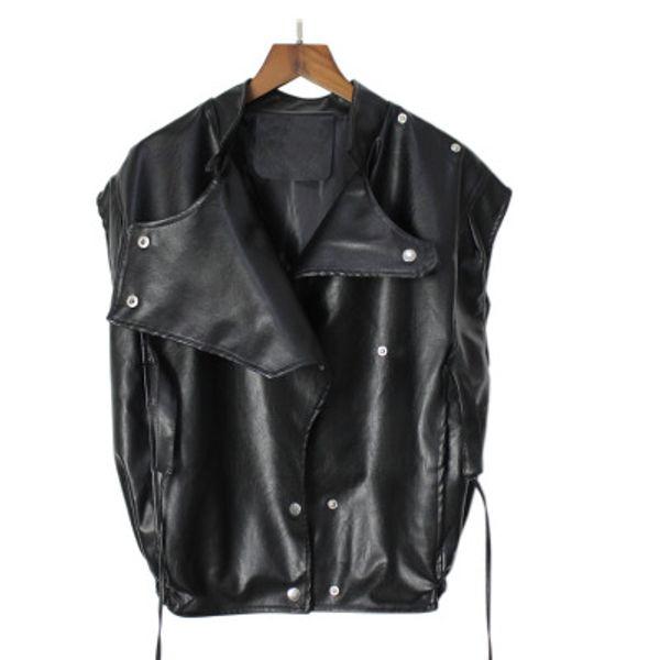 2019 Punk Wind Female Autumn And Winter BF Wind Stand Collar Handsome Loose Locomotive PU Leather Vest Jacket Vest Female