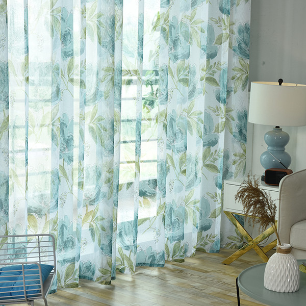 Floral Linen Tulle Curtains For Living Room Kitchen Window Sheer Curtains  For Bedroom Short Voile Curtain Rideaux Voilage Drapes Dining Room Curtains  ...