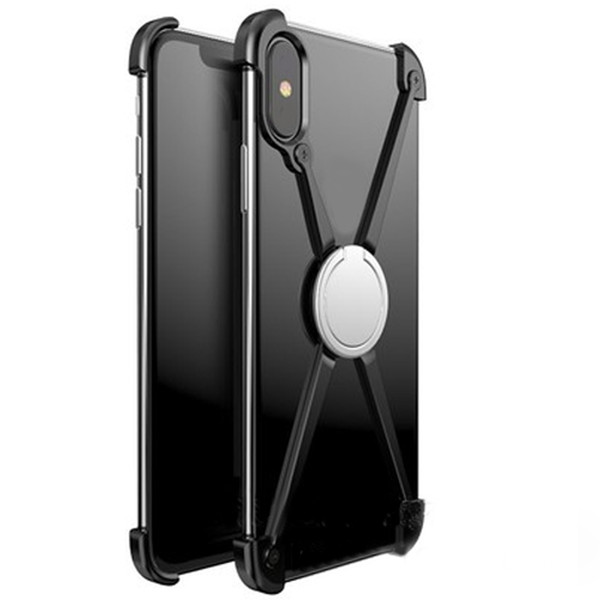 Bumper Case for iPhone X, Slim Aluminum Metal X-Frame Phone Bumpers with Ring Holder & Screw