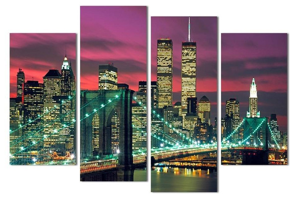 4pcs/set Unframed Red New York Sunset Landscape panting Oil Painting On Canvas Giclee Wall Art Painting Art Picture For Home