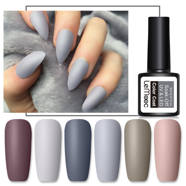 Lemooc 8ml Matte Top Coat Color Uv Gel Nail Polish Gray Series Semi Permanent Soak Off Uv Gel Varnish Diy Nail Art Paint How To Remove Nail Gel Nail