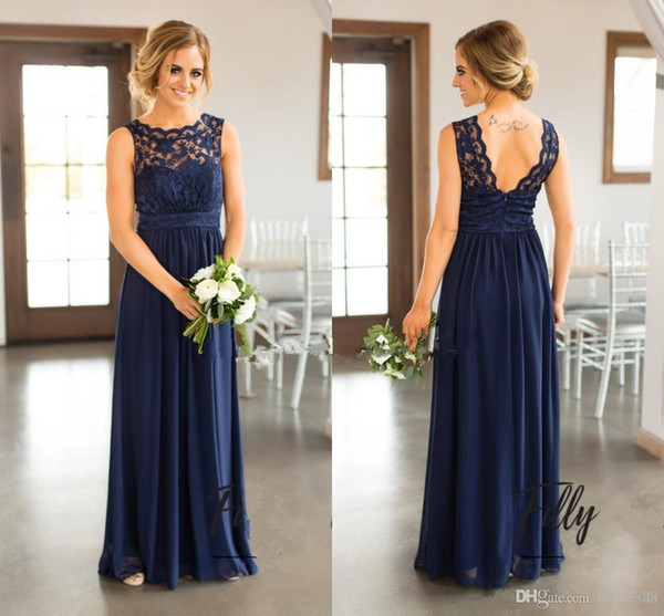 2019 novo azul marinho lace vestidos de dama de honra para o país de casamento a linha de jóias longo chiffon bohemian verão praia festa de casamento vestidos de noite