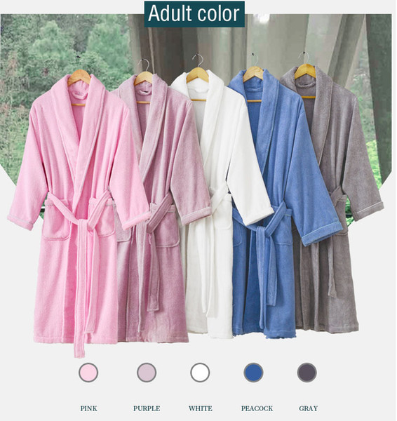 Autumn and winter, pure cotton, male and female parent-child family children's bathrobes, boys and girls, cotton absorbent towel material