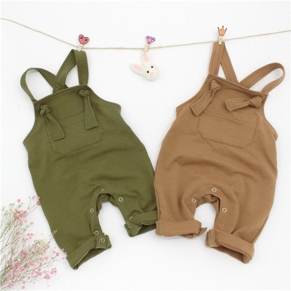 Newest baby Infant Boys Girls Overalls rompers 2color Blank Sleeveless Front Pockets designs Tatting Cotton Newborn jumpsuits Onesies UJY906