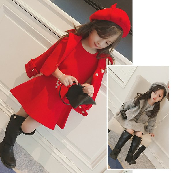 Children's clothes 2019 spring and winter style infant baby kids clothing sets girls wool coat and dress and hat 3pieces jacketsMX190916