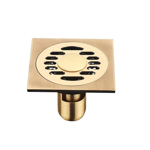 best selling Floor Drains Antique Brass Shower Floor Drain Bathroom Deodorant Square Floor Drain Strainer Cover Grate Waste